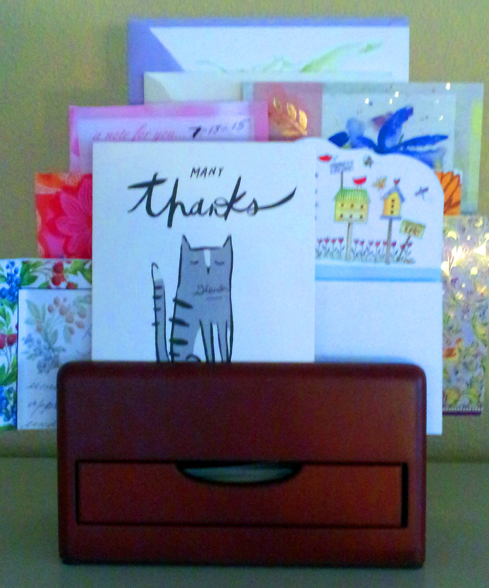 A basket of thank you cards for Lisa Day